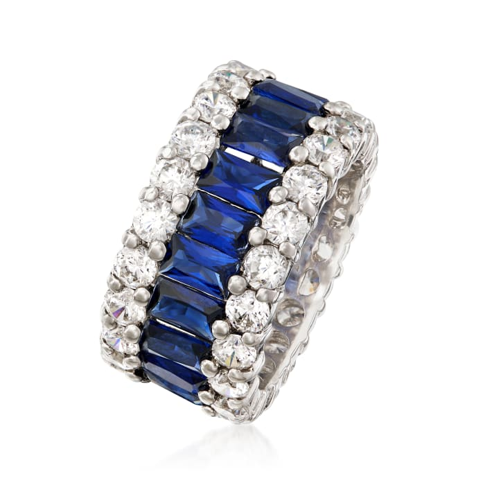6.00 ct. t.w. Simulated Sapphire and 4.00 ct. t.w. CZ Eternity Band in Sterling Silver