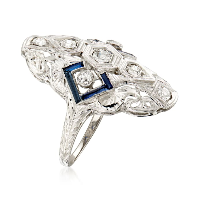 C. 1990 Vintage .55 ct. t.w. Diamond and .33 ct. t.w. Simulated Sapphire Filigree Ring in 18kt White Gold