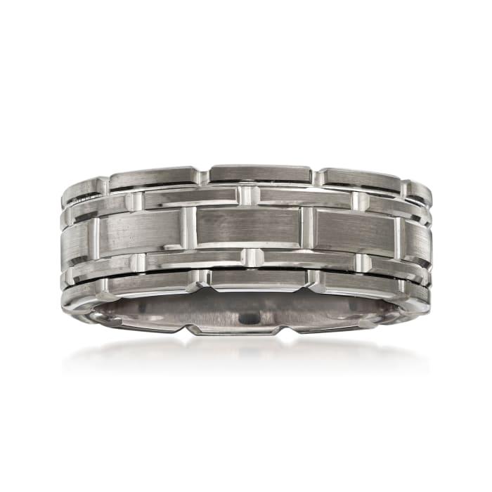Men's 8mm Tungsten Carbide Link Wedding Ring