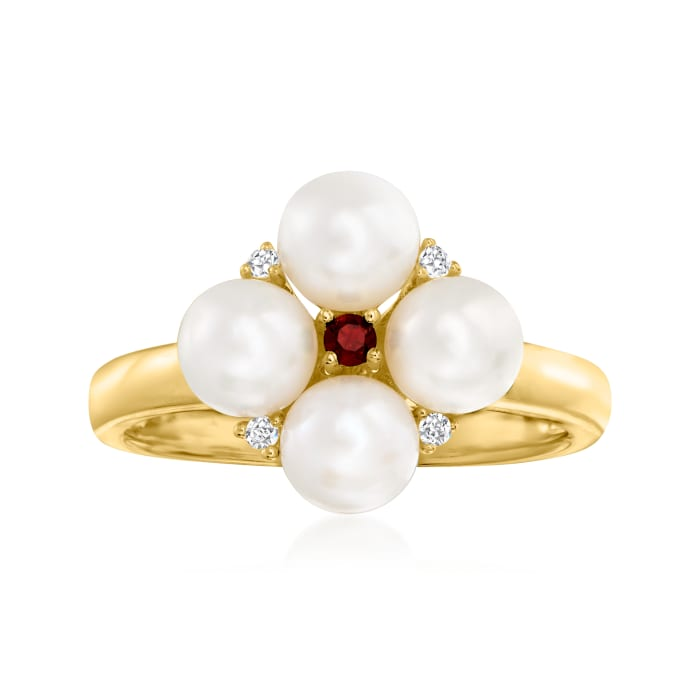 5mm Cultured Pearl Ring with Multi-Gem Accents in 18kt Gold Over Sterling