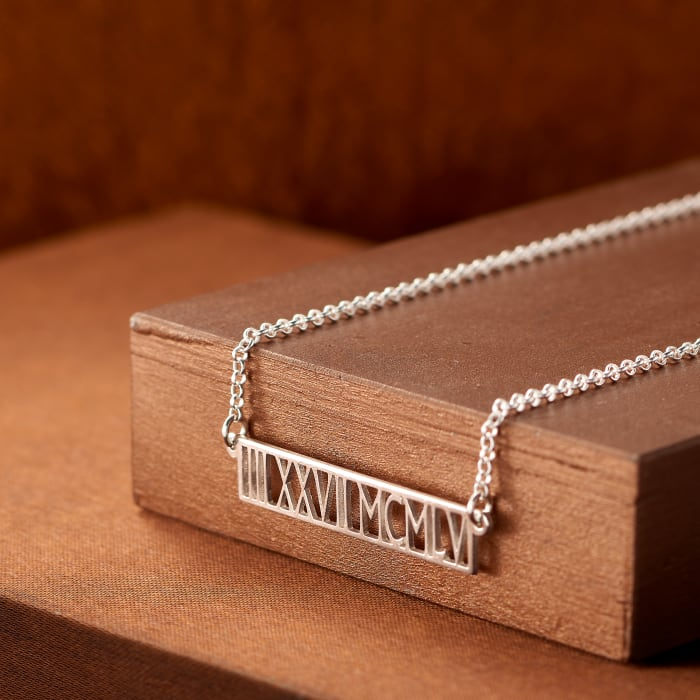 Sterling Silver Personalized Horizontal Roman Numeral Necklace