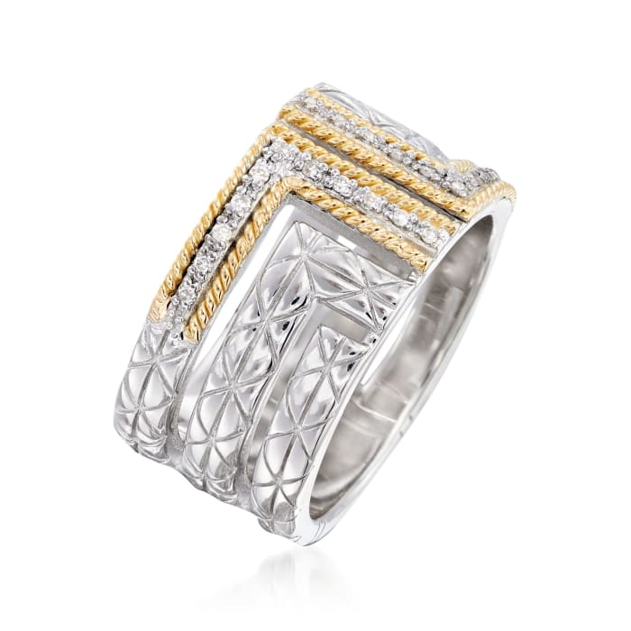 """Andrea Candela """"Laberinto"""" .11 ct. t.w. Diamond Ring in 18kt Yellow Gold and Sterling Silver"""