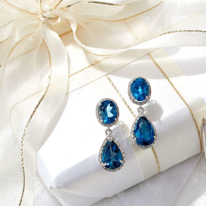 11.00 ct. t.w. London Blue Topaz and .14 ct. t.w. Diamond Drop Earrings in Sterling Silver