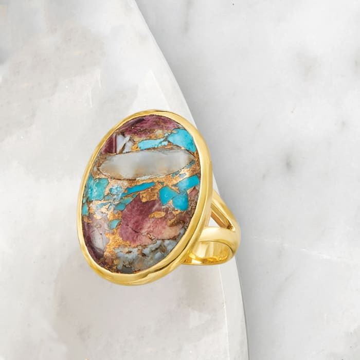 Oval Kingman Turquoise Ring in 18kt Gold Over Sterling