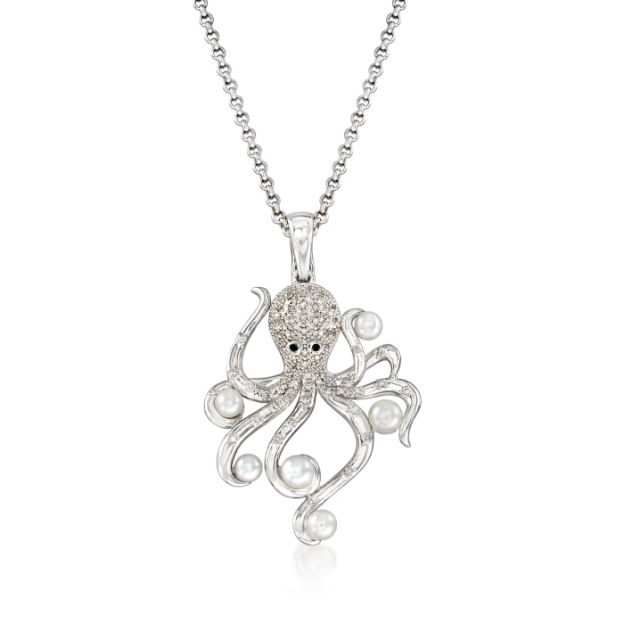 3.5-4.5mm Cultured Pearl and .19 ct. t.w. Diamond Octopus Pendant Necklace in Sterling Silver