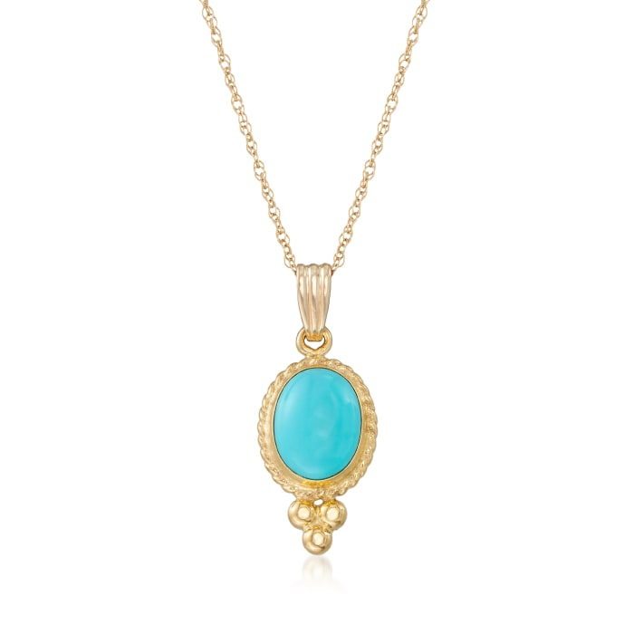 Turquoise Rope Bezel Pendant Necklace in 14kt Yellow Gold