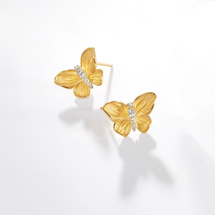 Simon G. .10 ct. t.w. Diamond Butterfly Earrings in 18kt Yellow Gold