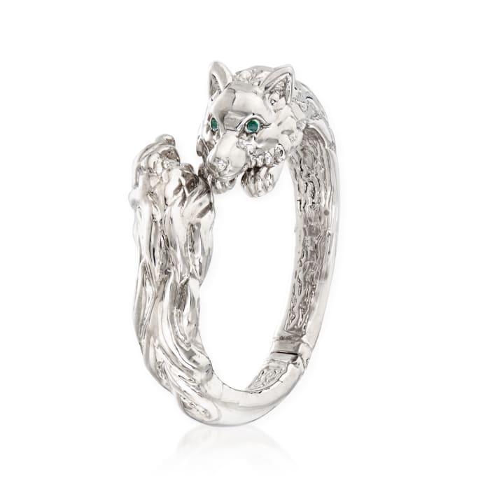 Italian Sterling Silver Fox Head Bypass Bangle Bracelet