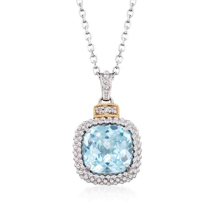 "Phillip Gavriel ""Popcorn"" 4.50 Carat Blue Topaz Pendant Necklace with Diamond Accents"