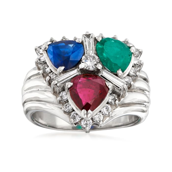 C. 1980 Vintage 2.25 ct. t.w. Multi-Gemstone and .80 ct. t.w. Diamond Cluster Ring in Platinum