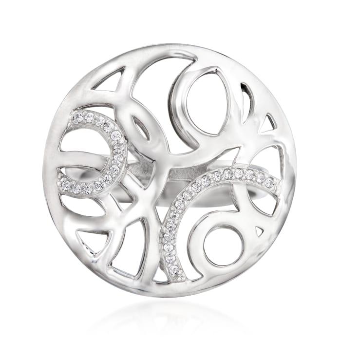 """Belle Etoile """"Celestia"""" .16 ct. t.w. CZ Ring in Sterling Silver"""