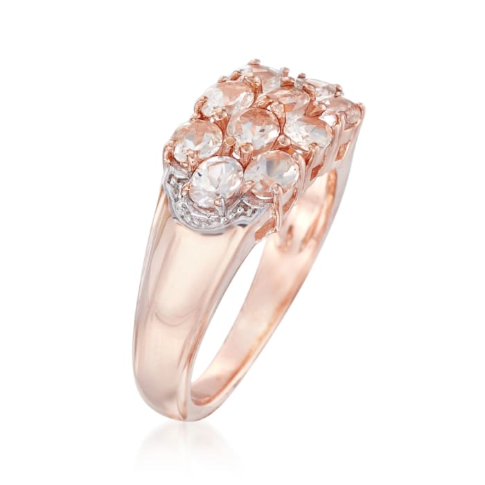 1.50 ct. t.w. Morganite Cluster Ring in 14kt Rose Gold Over Sterling