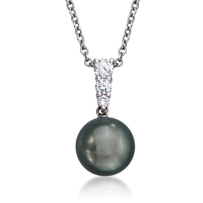 Mikimoto 10mm Black South Sea Pearl and .25 ct. t.w. Diamond Necklace in 18kt White Gold