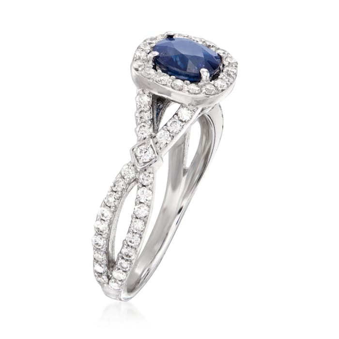 1.00 Carat Sapphire and .71 ct. t.w. Diamond Ring in 14kt White Gold