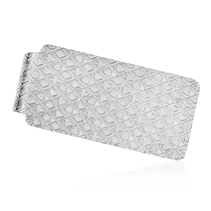 Sterling Silver  Polished Textured Money Clip
