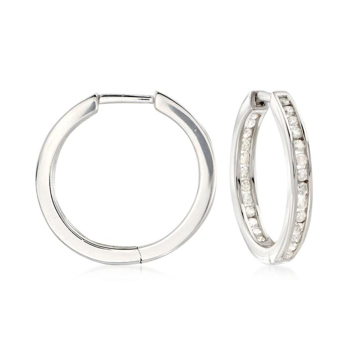 .50 ct. t.w. Channel-Set Diamond Inside-Outside Hoop Earrings in Sterling Silver