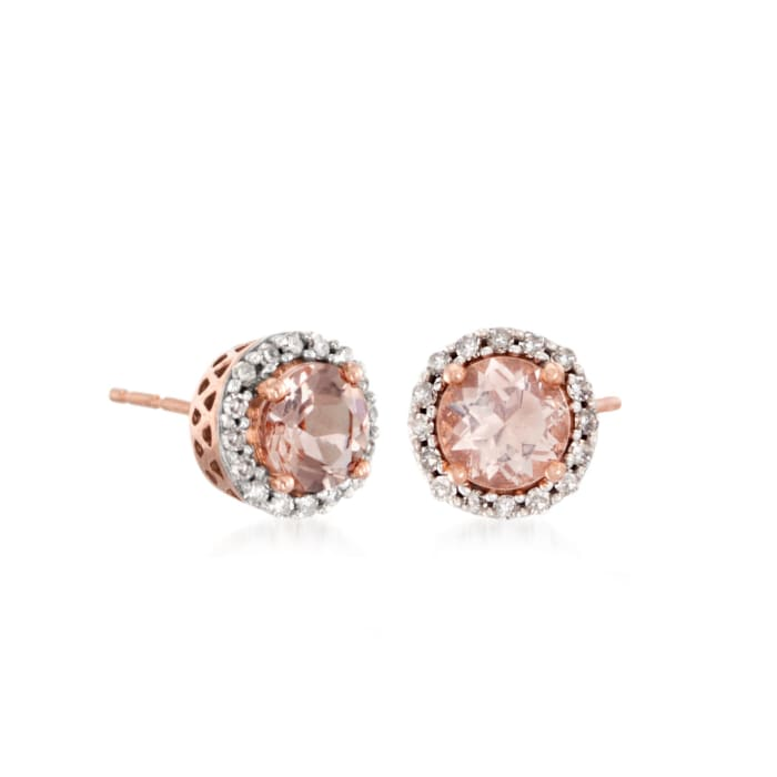 1.00 ct. t.w. Morganite and .16 ct. t.w. Diamond Halo Stud Earrings in 14kt Rose Gold