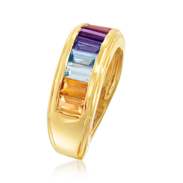 1.70 ct. t.w. Multi-Gemstone Ring in 18kt Gold Over Sterling
