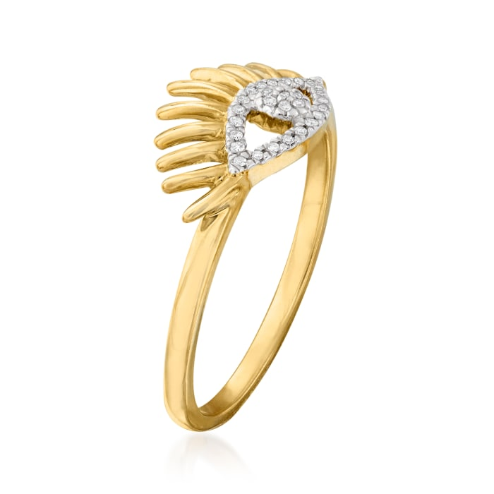 14kt Yellow Gold Eye Ring with Diamond Accents