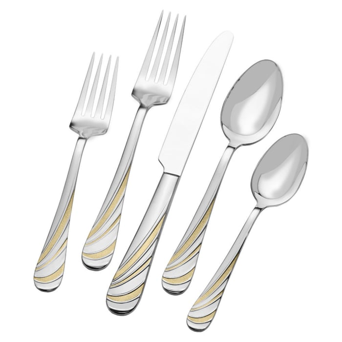 "Mikasa ""Swirl"" 20-pc. Service for 4 18/10 Stainless Steel Flatware Set with Gold-Plated Accents"