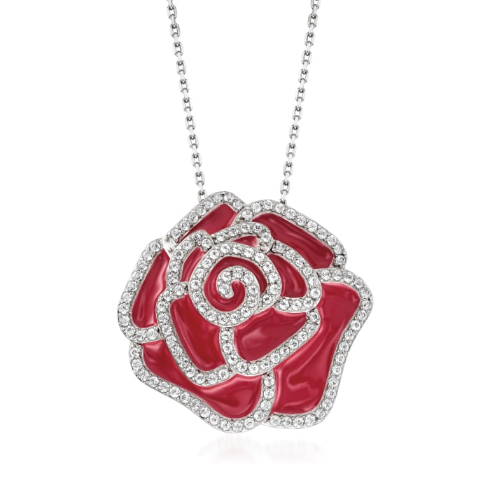 1.30 ct. t.w. White Topaz and Pink Enamel Flower Pendant Necklace