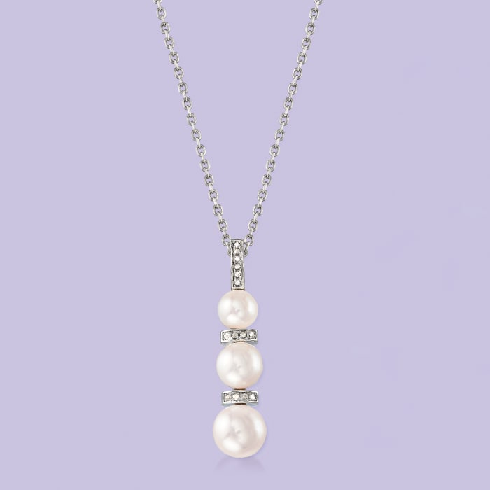 6-8.5mm Cultured Pearl and .10 ct. t.w. Diamond Pendant Necklace in Sterling Silver