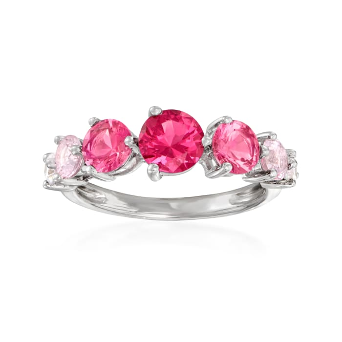 2.20 ct. t.w. Pink Simulated Sapphire and .20 ct. t.w. CZ Ring in Sterling Silver