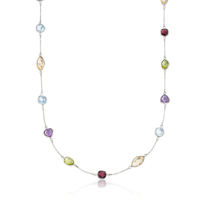 14.82 ct. t.w. Multi-Stone Station Necklace in Sterling Silver