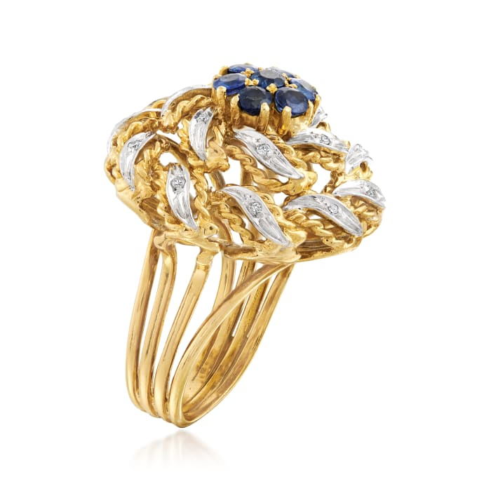 C. 1960 Vintage 1.00 ct. t.w. Sapphire and .10 ct. t.w. Diamond Flower Ring in 18kt Yellow Gold