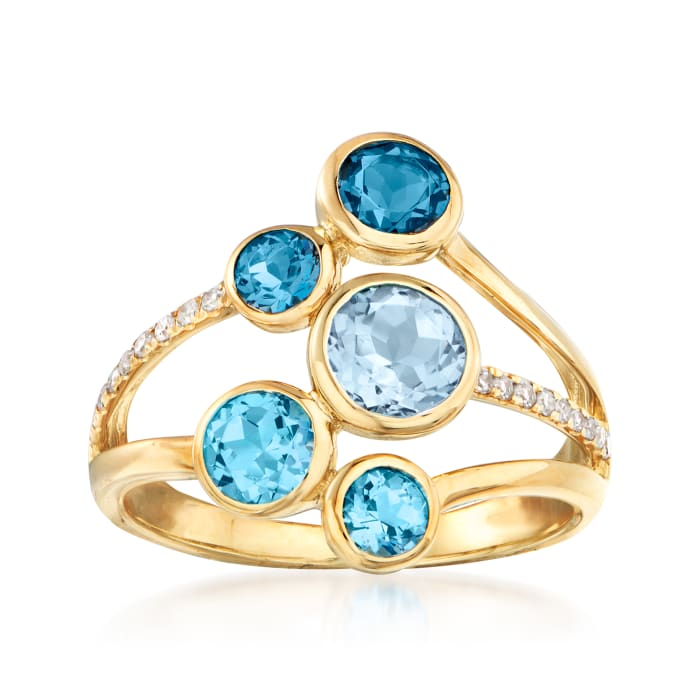 2.00 ct. t.w. Tonal Blue Topaz and .10 ct. t.w. Diamond Ring in 14kt Yellow Gold