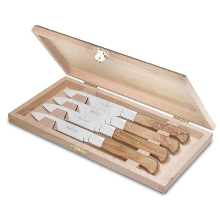 """Argent Orfevres """"Lynden"""" Olive Wood 4-pc. 18/10 Stainless Steel Steak Knife Set"""