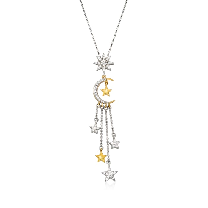 .33 ct. t.w. Diamond Moon and Star Pendant Necklace in Sterling Silver and 18kt Gold Over Sterling