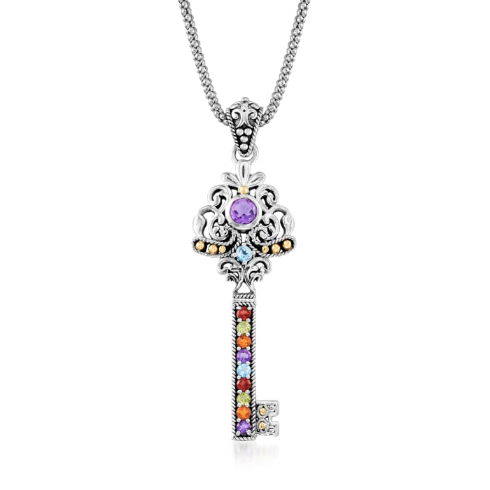 .90 ct. t.w. Multi-Gemstone Key Pendant Necklace in Sterling Silver with 18kt Yellow Gold