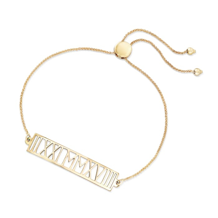 14kt Yellow Gold Roman Numeral Date Bolo Bracelet
