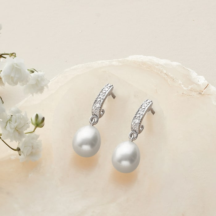 8-9mm Cultured Pearl Dangle Earrings with Diamond Accents in Sterling Silver