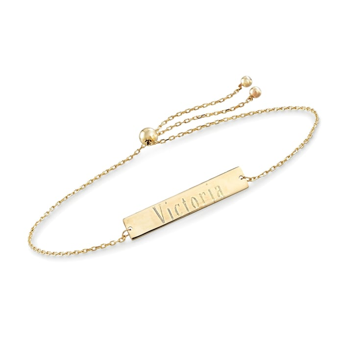 14kt Yellow Gold Name Bar ID Bolo Bracelet