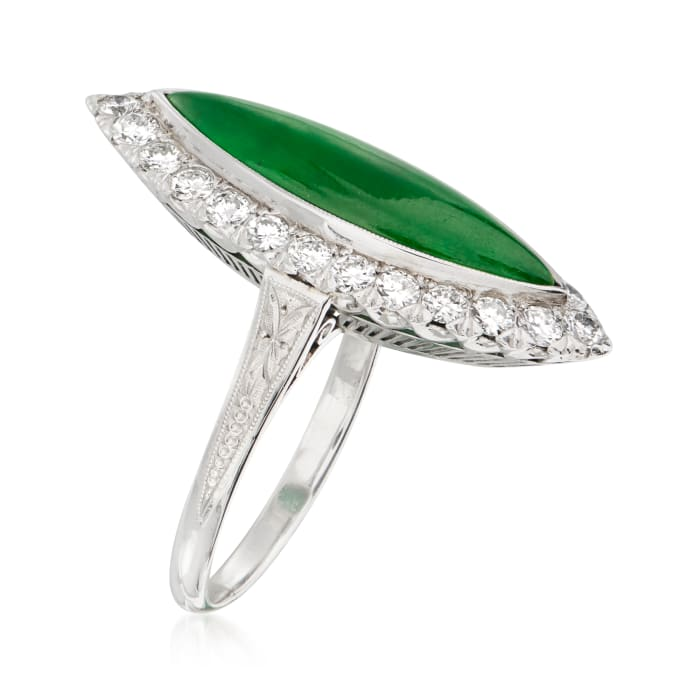 C. 1950 Vintage Nephrite and .80 ct. t.w. Diamond Marquise Ring in Platinum