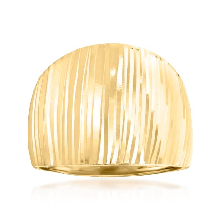 18kt Gold Over Sterling Stripe Dome Ring