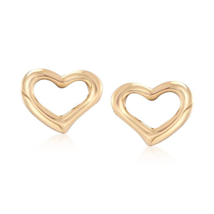 18kt Yellow Gold Open-Space Heart Stud Earrings