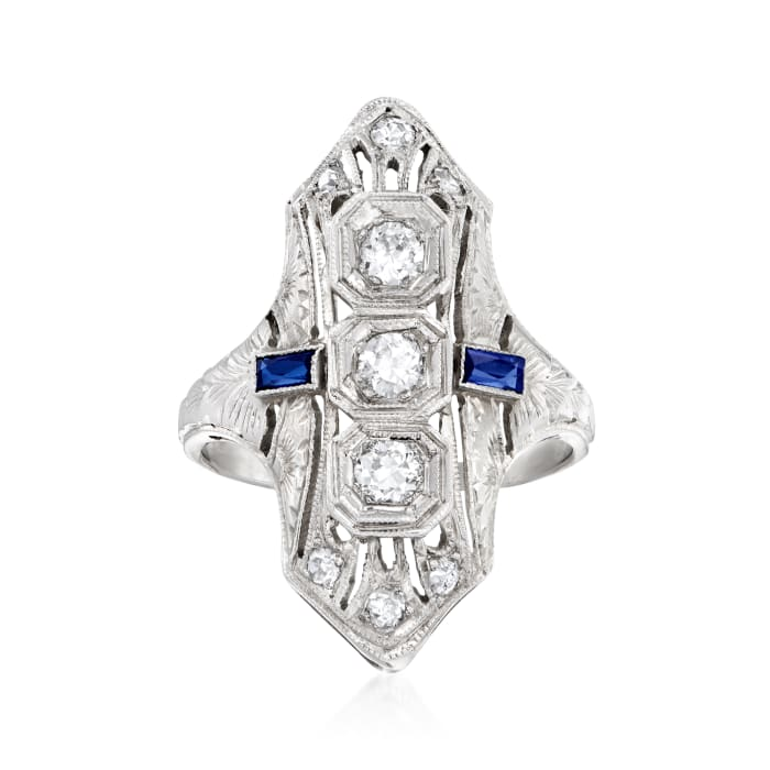 C. 1950 Vintage .35 ct. t.w. Diamond Ring with Synthetic Sapphire Accents in 18kt White Gold