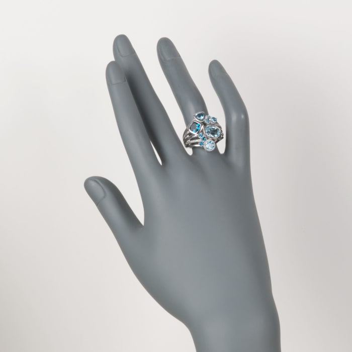 4.90 ct. t.w. Blue Topaz Ring with .10 ct. t.w. White Topaz in Sterling Silver