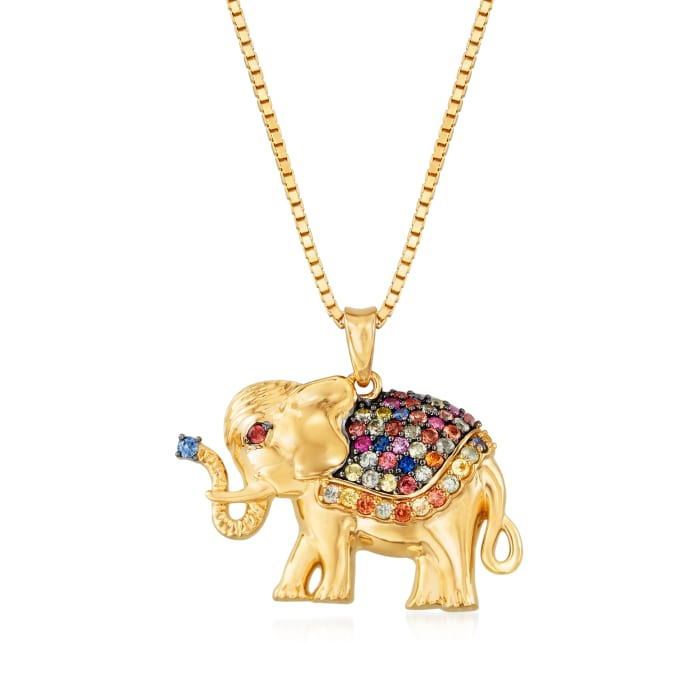 .50 ct. t.w. Multicolored Sapphire Elephant Pendant Necklace in 18kt Gold Over Sterling