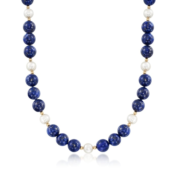 8-8.5mm Cultured Freshwater Pearl and Lapis Bead Necklace in 14kt Yellow Gold
