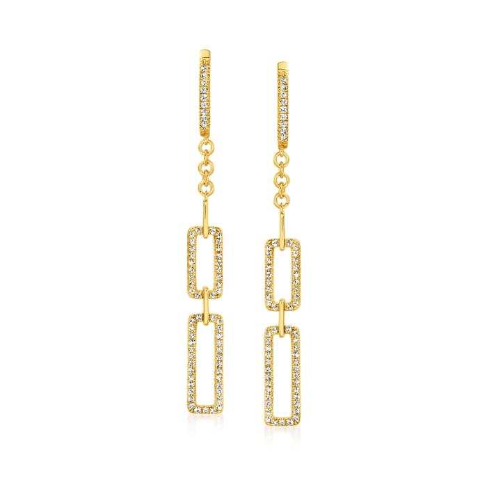 .37 ct. t.w. Diamond Paper Clip Link Hoop Drop Earrings in 18kt Gold Over Sterling