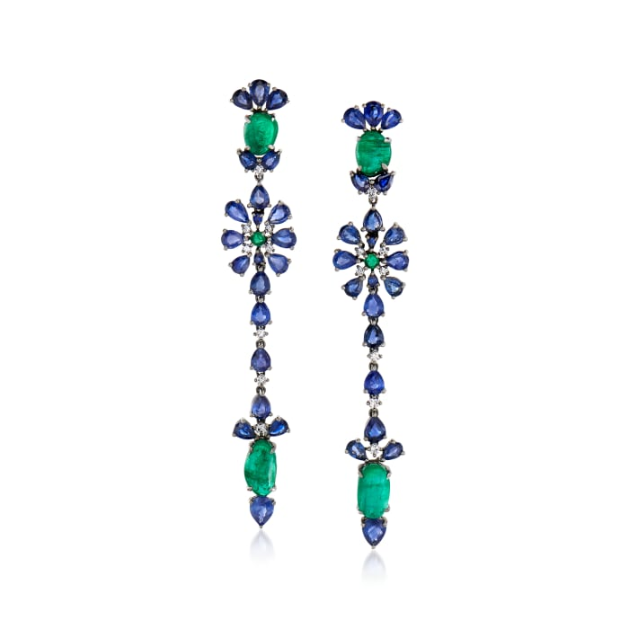 10.20 ct. t.w. Sapphire and 8.35 ct. t.w. Emerald Drop Earrings with .23 ct. t.w. Diamond in 18kt White Gold