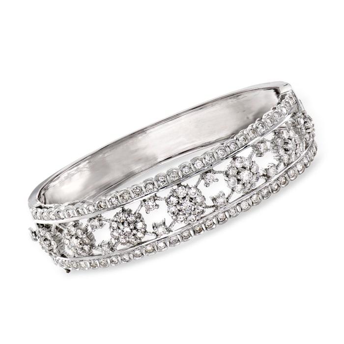 C. 1980 Vintage 4.25 ct. t.w. Diamond Open-Space Flower Bracelet in 18kt White Gold