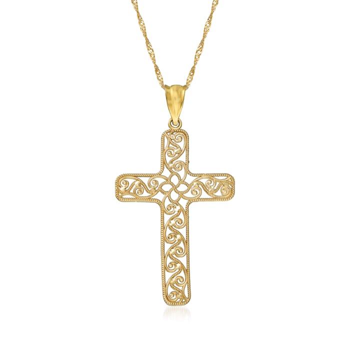 14kt Yellow Gold Filigree Cross Pendant Necklace