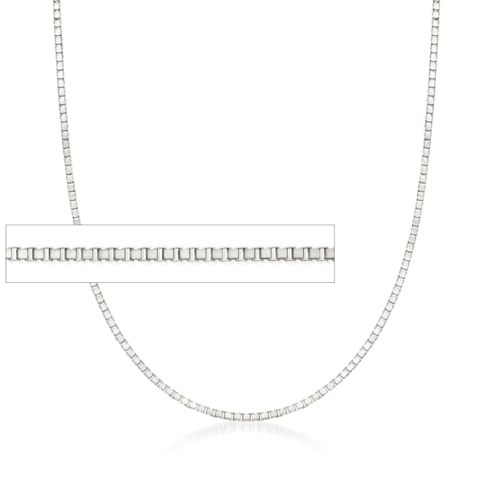 .8mm 14kt White Gold Box Chain Necklace