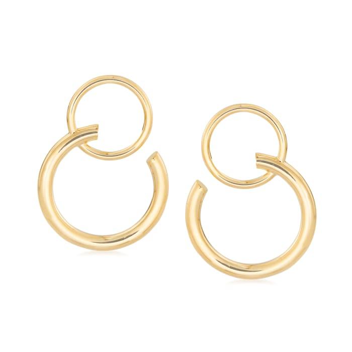 Italian 14kt Yellow Gold Double Open-Circle Drop Earrings