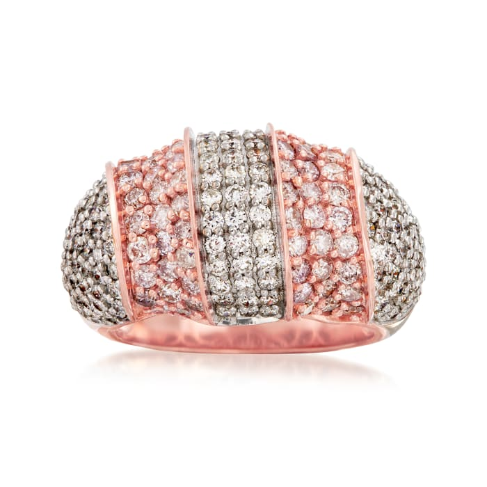 2.90 ct. t.w. Pink and White Diamond Dome Ring in 18kt Rose Gold